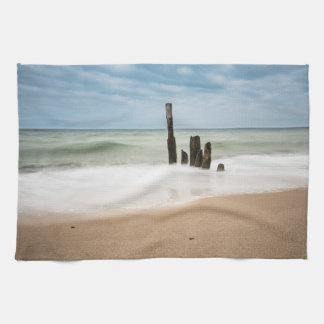 Groynes on shore of the Baltic Sea Kitchen Towel
