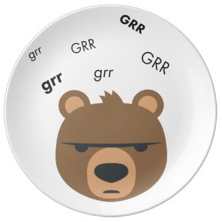 Grr Bear Cute Emoji Porcelain Plates