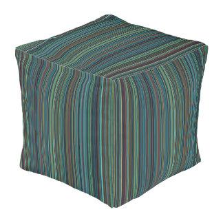 Grren blue taupe retro stripe square pouf