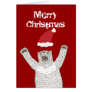 Grrr! Roaring Bear Christmas Greeting Card