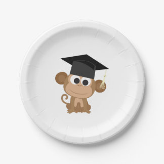 Gruaduation Monkey 7 Inch Paper Plate