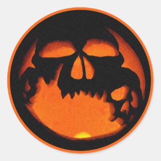 Gruesome Halloween Pumpkin Skulls Silhouette Classic Round Sticker