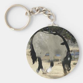 Grulla Horse Basic Round Button Keychain