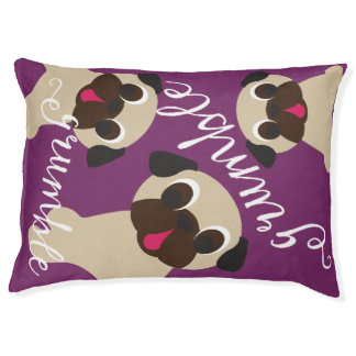 Grumble, Grumble 3 Fawn Pugs Dog Bed on Purple Large Dog Bed