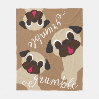 Grumble, Grumble Fawn Pug Lt Brown Fleece Blanket