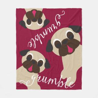 Grumble, Grumble Fawn Pugs Fleece Blanket