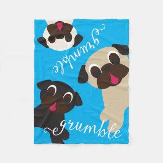 Grumble, Grumble Pug Fleece Throw Blanket
