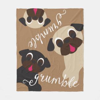 Grumble, Grumble Pug Light Brown Fleece Blanket