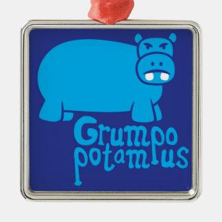 Grumpopotamus Silver-Colored Square Ornament