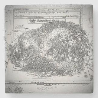 Grumpy Angel Cat Sleeping on a Laptop Stone Coaster
