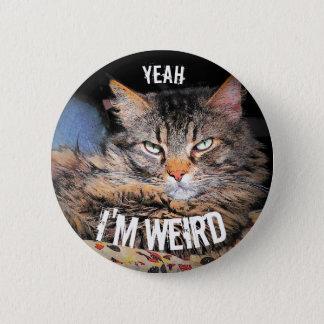Grumpy Angel, Yeah I'm Weird Cat Meme 2 Inch Round Button