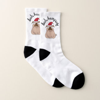 Grumpy Bah Humpug With Text Pun Christmas Socks 1