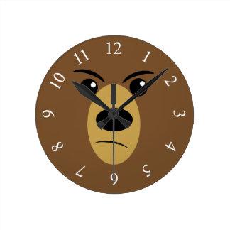 Grumpy Bear Face Round Clock