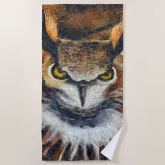 Grumpy Big Ear Owl Beach Towel