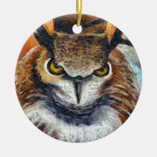 Grumpy Big Ear Owl Ceramic Ornament