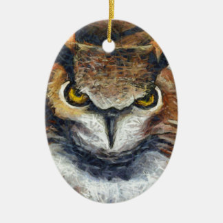 Grumpy Big Ear Owl Ceramic Ornament