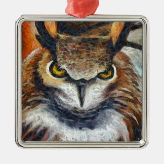 Grumpy Big Ear Owl Metal Ornament