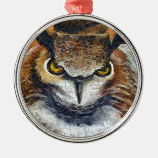 Grumpy Big Ear Owl Metal Ornament