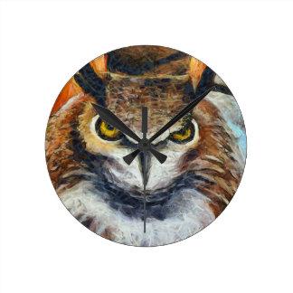 Grumpy Big Ear Owl Round Clock