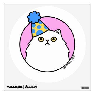 Grumpy Birthday Cat - fluffy white persian Wall Decal