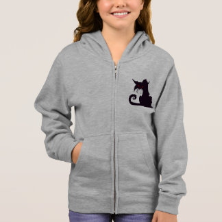 Grumpy Black Cat Girls Hoodie