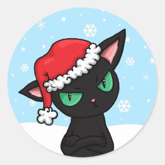 Grumpy Black Cat wearing Santa Hat Classic Round Sticker