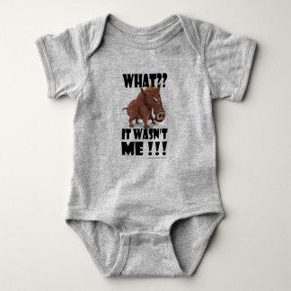 """Grumpy Boar says """"It wasn't me"""" Baby Bodysuit"""