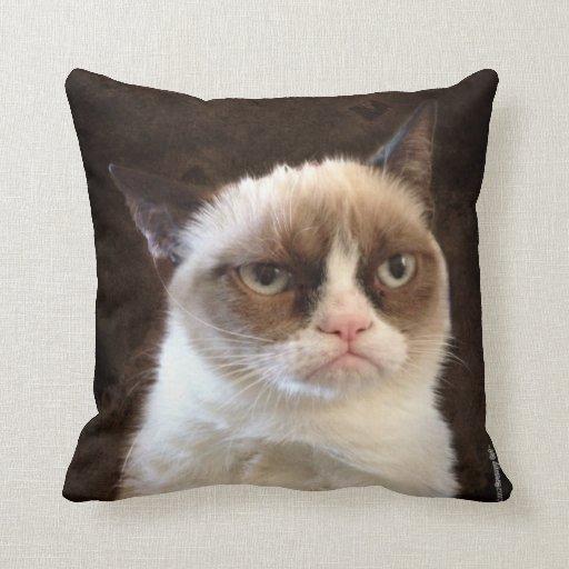 Grumpy Cat Brown Pillow