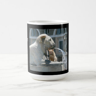 Grumpy Cat in Fountain, Piazza in Rome Italy Basic White Mug