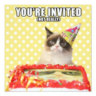 """Grumpy Cat Invitations - You're Invited 5.25"""" Square Invitation Card"""