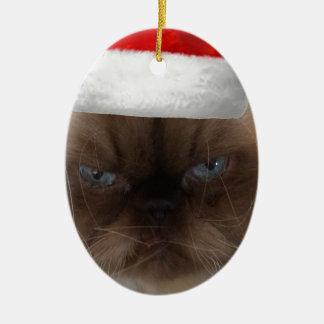 Grumpy Christmas Cat Ceramic Ornament
