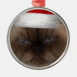Grumpy Christmas Cat Metal Ornament