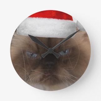 Grumpy Christmas Cat Round Clock
