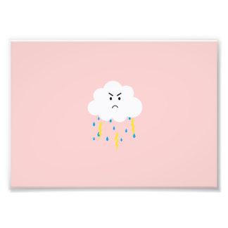 Grumpy cloud with lightnings art photo