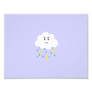 Grumpy cloud with lightnings photo art