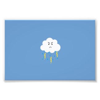 Grumpy cloud with lightnings photo print