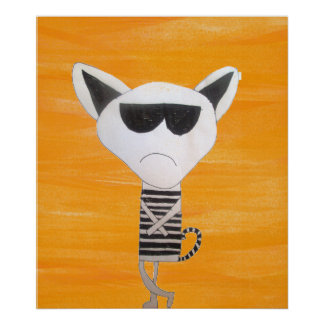 Grumpy cool cat with sunglasses art poster