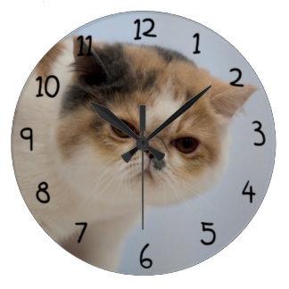 Grumpy Face Cat Large Clock