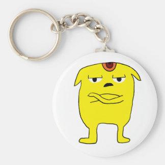 Grumpy fellow basic round button keychain