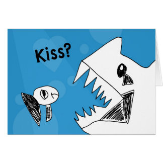 Grumpy Fish Needs a Kiss Notecard