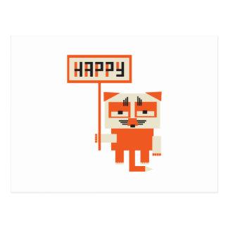 grumpy fox holding HAPPY sign Postcard