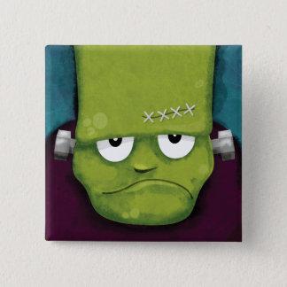 Grumpy Frankenstein   Halloween Novelty 2 Inch Square Button