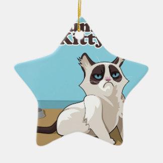 Grumpy Kitty cat Ceramic Ornament