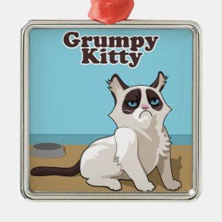Grumpy Kitty cat Metal Ornament