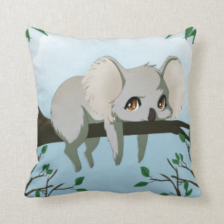 Grumpy koala bear throw pillow