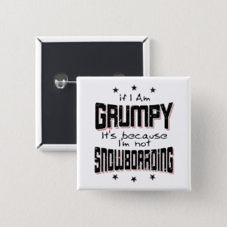 GRUMPY not SNOWBOARDING (blk) 2 Inch Square Button