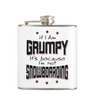 GRUMPY not SNOWBOARDING (blk) Hip Flask