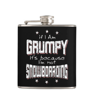 GRUMPY not SNOWBOARDING (wht) Hip Flask