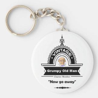 "Grumpy Old Man Club Fun ""Over the Hill"" Birthday Basic Round Button Keychain"