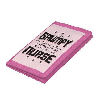 GRUMPY overworked underpaid NURSE (blk) Tri-fold Wallet
